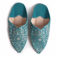 Decorative Babouche Slippers Teal | Bohemia | Wolf & Badger