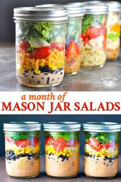 These Mason Jar Salads are a perfect way to prep ahead for lunches on the go or light dinners throughout the week! They're quick, fresh, and easy!