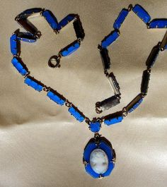 Antique  Art Deco Flapper CZECHOSLOV COBALT BLUE Glass  Necklace with Milk Glass Cameo Pendant.  Only 89.00 Arrives in Satin Lined Gift Box.
