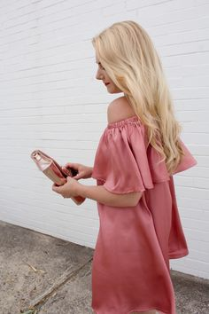Fashion blogger - Boohoo off the shoulder ruffle frill dress in pink satin