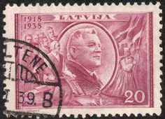 "Scan_Latvia 1938 Scott 203 20s red lilac ""Pres. Karlis Ulmanis"" For the 20th anniversary of the Republic, a seven stamp pictorial set was issued. The illustrated example features President Ulmanis in a rather heroic portrait.."