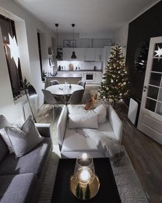 Home house design interior design open space kitchen living room Christma Small Apartment Interior, Small Apartment Living, First Apartment Decorating, Small Living Rooms, Home Living Room, Home Interior Design, Living Room Designs, Living Room Decor, Bedroom Decor