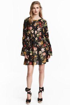 Платье с рисунком - Черный/Цветы - Женщины | H&M RU