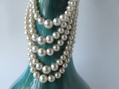 1 Pearl necklace multi stranded necklace white by AlbertsAttic