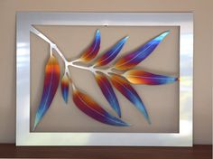 Small leaf silver stainless steel wall art // by GalaxiaMetal