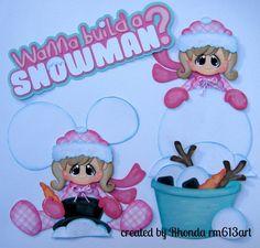 Winter play snow girl paper piecing set premade scrapbook pages Rhonda rm613art
