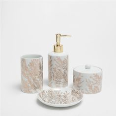 GOLDEN CORAL DESIGN CERAMIC BATHROOM SET