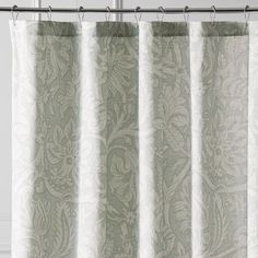 Add the classic charm of this Jacobean floral print shower curtain to your private bath. You'll love its soft tonal print in soft aqua shades and textured, easy-care fabric. Want to spread this beauty around? It coordinates with our Quint bedding and curtain collections (sold separately).