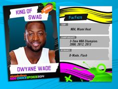 KIDS' CHOICE SPORTS WINNER TRADING CARDS! ...Turn Up the Heat: Always dressed to impress, Dwyane Wade took home the Blimp for King of Swag!