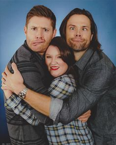 "HousCon15: Jensen was such a doll during this shoot. Well to be honest, both were just dolls. I said hello and looked at them both to say hi, then I got down to business. I looked right into Jensen's fabulous green eyes and said, ""I want to be super squished and I want it to be super silly!"" To which he replied, ""Absolutely, pick a side!"" I think about it a second, and turn to squeeze my chubby little arms around Jensen. To which he then squeezes me hard as well (yesssssss) and over my head."