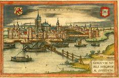 Ets met een gezicht op Gorinchem vanuit het zuiden door Georg Braun en Franz Hogenberg uit de Civitates Orbis Terrarum (1576/77). Met penseel en waterverf ingekleurd. Men ziet zowel het wapen van Holland als het wapen van de achtste stad van Holland. Op de voorgrond is het tolhek te zien waarmee Gorinchem de Merwede had afgesloten. Sinds 1420 was hier een grafelijke tol gevestigd. De schepen konden pas doorvaren als zij hadden betaald. In het midden van het hek zat een beweegbare schuif.