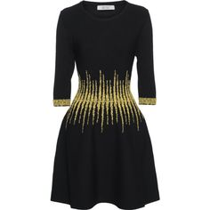 D.EXTERIOR Patterned Line Yellow Black // Fine knit dress with pattern... ($520) ❤ liked on Polyvore