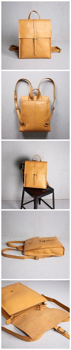 Genuine Leather School Backpack Casual Rucksack Travel Backpack Laptop Bag 14060