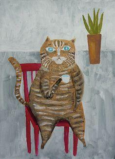 The cat which relaxes - Original Painting - Tetsuhiro Wakabayashi