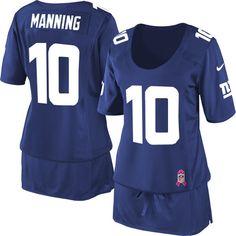 Women's Nike New York Giants #10 Eli Manning Elite Royal Blue Breast Cancer Awareness Jersey  $69.99