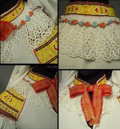 Partial Woman's Folk Costume from Zliechov, Slovakia - embroidered blouse, apron & head scarf Folk Costume, Costumes, Vintage Textiles, Embroidered Blouse, White Cotton, Pleated Skirt, Lace Trim, Fashion Art, Larger