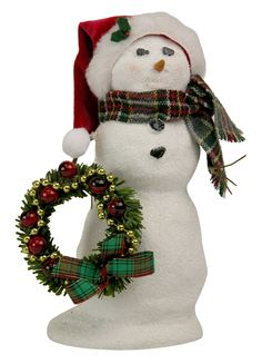 Byers' Choice Snowman with Wreath Inv # 2987
