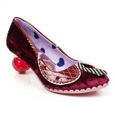 fa55b28f667 Energising Love Burgundy velvet mini jewelled heel with necktie 125£ Irregular  Choice Shoes