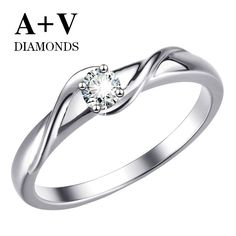 18k white gold nature diamond ring for women free shipping