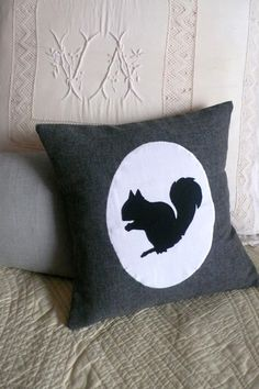 Squirrel Silhouette, cushion cover (mouse grey) $49