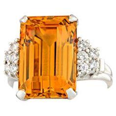 Art Deco Natural Topaz  Diamond Platinum Ring