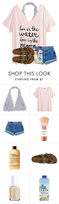 """""""come sail away with me (taggg)"""" by madiweeksss ❤ liked on Polyvore featuring H&M, Billabong, Maybelline, Birkenstock, Essie, Vita Coco, living room and kitchen"""
