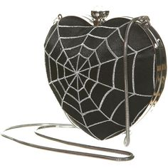 Every woman needs a Halloween handbag to keep her potion ingredients in! Heart Shaped Black Spiderweb Clutch Purse with Metal Closure and Chain Strap. Grunge, Clutch Purse, Purse Wallet, Crossbody Bags, Betsey Johnson, Mode Steampunk, Gothic Accessories, Iron Fist, Gothic Fashion