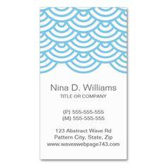 Vertical trendy light blue Japanese wave pattern Business Card Templates