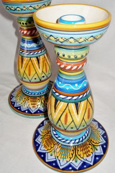 Deruta Geometrico XL Candlesticks ~ Ceramic Majolica Art of Italy ~ Hand-Painted