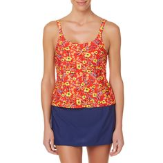Basic Editions Women's Tankini Swim Top - Floral, Size: 16, Fiery Red