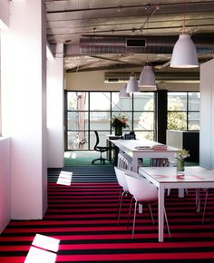 Exposed ceiling - creates industrial feel - business identity