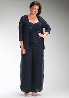 0bbdf59265356 Plus Size Dark Navy Chiffon Three Piece mother of the bride dress pants sets  - Mother Of The Bride Pantsuits