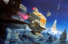 French illustrator Manchu is one of the masters of classic sci-fi illustration. His worlds and spaceships are massive, optimistic, colorful, and sometimes even zany on his alien spaceship designs. Masterfully crafted, his work reminds me of another one of the greatest: The British Chris Foss.