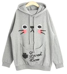 Cute Cat Ears, Kitten Face Hoodie Sweatshirt/Pullover, Girls Don't MISS It!!