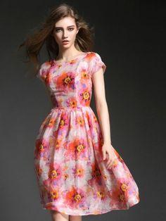 Shop Pink Floral Print Short Sleeve High Waist Midi Dress from choies.com .Free shipping Worldwide.$36.89