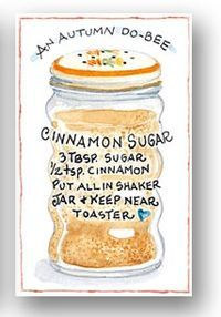 Susan Branch - pretty self explanatory but this is cute and cinnamon sugar is a staple at our house. Old Recipes, Vintage Recipes, Cooking Recipes, Macarons, Branch Art, Spice Mixes, Kitchen Art, Saveur, Food Illustrations