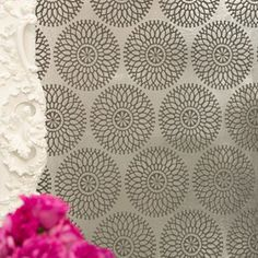 Circle Flocked Foil Wallpaper Charcoal 99 00 Brocade Home