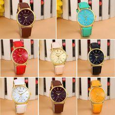 Free shipping today - 2015 New Geneva Unisex Leather Band Analog Quartz Vogue WristWatch Watches Ladies Watch Women Perfect Gift