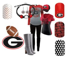 Georgia Bulldogs by jessica-hixon on Polyvore featuring 5th & Ocean, NIKE, Joie, Burberry, Fiora, Zephyr, Pfaltzgraff, football, georgia and jamberry