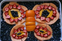 cute food idea with the fruit into the butterfly