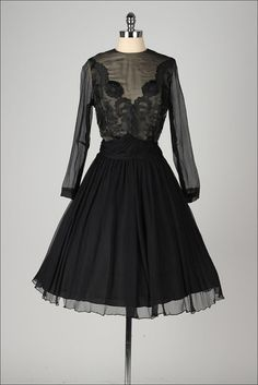 vintage 1950s dress . black silk crepe . by millstreetvintage