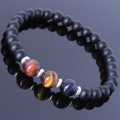 Matte Black Onyx Blue Red Brown Tiger Eye Sterling Silver Bracelet DIY-KAREN 629 #Handmade #Beaded