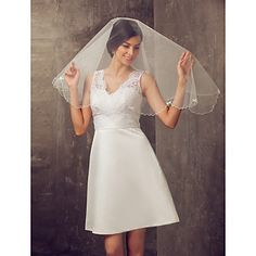 One-tier Elbow Wedding Veil With Pencil Edge – USD $ 6.99