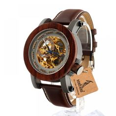Cheap birds birds, Buy Quality steampunk mechanical directly from China steampunk male Suppliers: BOBO BIRD Red Sandalwood&Steel Exposed Mechanical Watch Vintage Bronze Skeleton Clock Male Antique Steampunk Automatic Wooden Watches For Men, Mens Watches Leather, Vintage Watches, Skeleton Clock, Skeleton Watches, Wooden Gift Boxes, Wooden Gifts, Real Leather, Leather Men