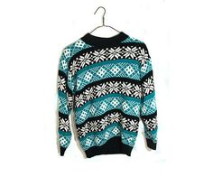 Teal Winter Sweater Teal Black White Nordic Print by TheBeardedBee