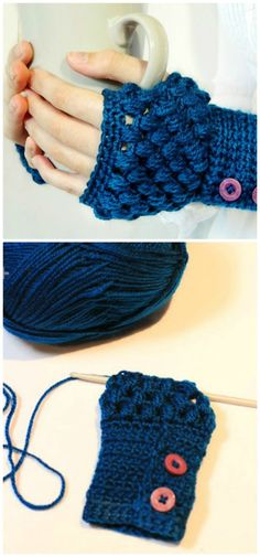 DIY Puff Stitch Fingerless Gloves – Free Crochet Pattern - 101 Free Crochet Patterns For Beginners That Are Super Easy - DIY & Crafts