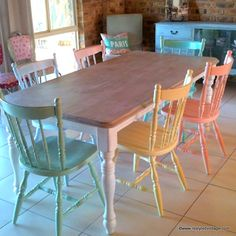 table and multicolored chairs