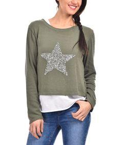 Look what I found on #zulily! Khaki Sparkle Star Layered Top #zulilyfinds