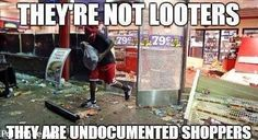 RIGHT WING CARTOONS: No Looters in Ferguson only Undocumented Shoppers Second night crowds dispersed with choppers.. dropping job applications   GNG