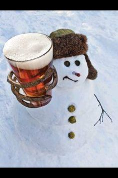 Snowman with beer